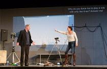 Gijs Scholten van Aschat (Hendrik Vogler), Marieke Heebink (Rachel) in AFTER THE REHEARSAL by Ingmar Bergman opening at the Barbican Theatre, Barbican Centre, London EC2 on 27/09/2017   Toneelgroep, A...