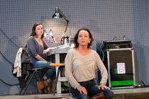 l-r: Gaite Jansen (Anna), Marieke Heebink (Rachel) in AFTER THE REHEARSAL by Ingmar Bergman opening at the Barbican Theatre, Barbican Centre, London EC2 on 27/09/2017   Toneelgroep, Amsterdam  set des...