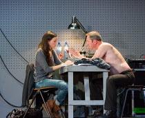 Gaite Jansen (Anna), Gijs Scholten van Aschat (Hendrik Vogler) in AFTER THE REHEARSAL by Ingmar Bergman opening at the Barbican Theatre, Barbican Centre, London EC2 on 27/09/2017   Toneelgroep, Amster...