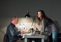 Gijs Scholten van Aschat (Hendrik Vogler), Gaite Jansen (Anna) in AFTER THE REHEARSAL by Ingmar Bergman opening at the Barbican Theatre, Barbican Centre, London EC2 on 27/09/2017   Toneelgroep, Amster...