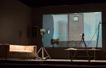 AFTER THE REHEARSAL by Ingmar Bergman  set design: Jan Versweyveld   costumes: An d'Huys   director: Ivo van Hove   stage,set (detail), rehearsal room, lights, video camera Toneelgroep, Amsterdam / op...