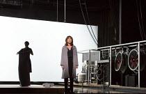 Lineke Rijxman (Doctor) with (rear left) Gaite Jansen (Alma) in PERSONA by Ingmar Bergman opening at the Barbican Theatre, Barbican Centre, London EC2 on 27/09/2017   Toneelgroep, Amsterdam  set desig...