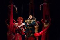 Eleanor Dennis (High Priestess), Gwyn Hughes Jones (Radames) in AIDA by Verdi opening at English National Opera (ENO), London Coliseum WC2 on 28/09/2017   conductor: Keri-Lynn Wilson  set design: Tom...