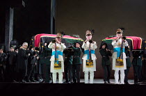 funeral procession, trumpeters: AIDA by Verdi opening at English National Opera (ENO), London Coliseum WC2 on 28/09/2017  conductor: Keri-Lynn Wilson  in association with Improbable  set design: Tom P...