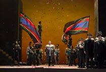 triumpant entrance: Gwyn Hughes Jones (Radames) in AIDA by Verdi opening at English National Opera (ENO), London Coliseum WC2 on 28/09/2017   conductor: Keri-Lynn Wilson  set design: Tom Pye  costumes...