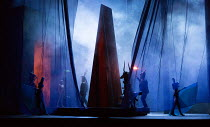 ceremonial figures in AIDA by Verdi opening at English National Opera (ENO), London Coliseum WC2 on 28/09/2017  conductor: Keri-Lynn Wilson  in association with Improbable  set design: Tom Pye  costum...