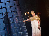 Gwyn Hughes Jones (Radames - imprisoned), Michelle DeYoung (Amneris) in AIDA by Verdi opening at English National Opera (ENO), London Coliseum WC2 on 28/09/2017   conductor: Keri-Lynn Wilson  set desi...