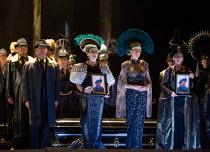 chorus in AIDA by Verdi opening at English National Opera (ENO), London Coliseum WC2 on 28/09/2017   conductor: Keri-Lynn Wilson  set design: Tom Pye  costumes: Kevin Pollard  lighting: Bruno Poet  si...