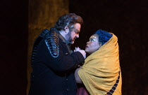 Gwyn Hughes Jones (Radames), Latonia Moore (Aida) in AIDA by Verdi opening at English National Opera (ENO), London Coliseum WC2 on 28/09/2017   conductor: Keri-Lynn Wilson  set design: Tom Pye  costum...