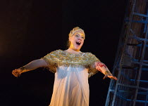 Michelle DeYoung (Amneris) in AIDA by Verdi opening at English National Opera (ENO), London Coliseum WC2 on 28/09/2017   conductor: Keri-Lynn Wilson  set design: Tom Pye  costumes: Kevin Pollard  ligh...