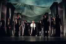 entrance of the King: Antony Sher (Leontes) in THE WINTER'S TALE by Shakespeare presented by the Royal Shakespeare Company (RSC) at the Royal Shakespeare Theatre Stratford-upon-Avon, England on 06/01/...
