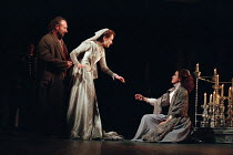 l-r: Antony Sher (Leontes), Alexandra Gilbreath (Hermione), Emily Bruni (Perdita) in THE WINTER'S TALE by Shakespeare presented by the Royal Shakespeare Company (RSC) at the Royal Shakespeare Theatre...
