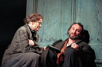 Estelle Kohler (Paulina), Antony Sher (Leontes) in THE WINTER'S TALE by Shakespeare presented by the Royal Shakespeare Company (RSC) at the Royal Shakespeare Theatre Stratford-upon-Avon, England on 06...