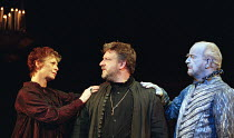 l-r: Sara Kestelman (Gertrude), Simon Russell Beale (Hamlet, Prince of Denmark), Sylvester Morand (Hamlet's Father / Ghost) in  HAMLET by Shakespeare at the Lyttelton Theatre, National Theatre (NT), L...