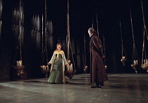 Cathryn Bradshaw (Ophelia), Peter McEnery (Claudius) in  HAMLET by Shakespeare at the Lyttelton Theatre, National Theatre (NT), London SE1: first night 05/09/2000   design: Tim Hatley  lighting: Paul...