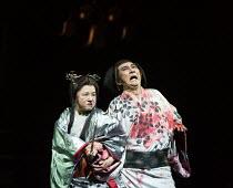 bloodied after the murder of King Duncan: Yuko Tanaka (Lady Macbeth), Masachika Ichimura (Macbeth) in MACBETH by Shakespeare opening at the Barbican Theatre, London EC2 on 05/10/2017 Ninagawa Theatre...