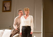 Alexander Hanson (Paul), Samantha Bond (Alice) in THE LIE by Florian Zeller opening at the Menier Chocolate Factory Theatre, London SE1 on 08/10/2017   in a translation by Christopher Hampton  set des...