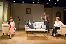 l-r: Alexandra Gilbreath (Laurence), Tony Gardner (Michel), Alexander Hanson (Paul), Samantha Bond (Alice) in THE LIE by Florian Zeller opening at the Menier Chocolate Factory Theatre, London SE1 on 0...
