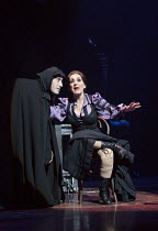 Ross Noble (Igor), Lesley Joseph (Frau Blucher) in YOUNG FRANKENSTEIN by Mel Brooks opening at the Garrick Theatre, London WC2 on 10/10/2017 book, music & lyrics by Mel Brooks  set design: Beowulf Bor...