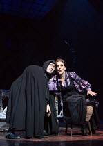 Ross Noble (Igor), Lesley Joseph (Frau Blucher) in YOUNG FRANKENSTEIN by Mel Brooks opening at the Garrick Theatre, London WC2 on 10/10/2017   book, music & lyrics by Mel Brooks  set design: Beowulf B...