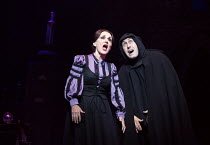 Lesley Joseph (Frau Blucher), Ross Noble (Igor) in YOUNG FRANKENSTEIN by Mel Brooks opening at the Garrick Theatre, London WC2 on 10/10/2017   book, music & lyrics by Mel Brooks  set design: Beowulf B...