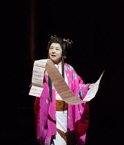 Yuko Tanaka (Lady Macbeth) in MACBETH by Shakespeare opening at the Barbican Theatre, London EC2 on 05/10/2017  Ninagawa Theatre Company, Tokyo, Japan  set design: Kappa Senoh  costumes: Jusaburo Tsuj...
