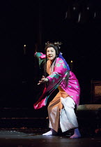 Yuko Tanaka (Lady Macbeth) in MACBETH by Shakespeare opening at the Barbican Theatre, London EC2 on 05/10/2017 Ninagawa Theatre Company, Tokyo, Japan  set design: Kappa Senoh  costumes: Jusaburo Tsuji...
