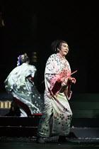 Yuko Tanaka (Lady Macbeth), Masachika Ichimura (Macbeth) in MACBETH by Shakespeare opening at the Barbican Theatre, London EC2 on 05/10/2017 Ninagawa Theatre Company, Tokyo, Japan  set design: Kappa S...
