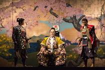 l-r: Ryutarou Akimoto (Donalbain), Tetsuro Sagawa (King Duncan), Hayata Tateyama (Malcolm) in MACBETH by Shakespeare opening at the Barbican Theatre, London EC2 on 05/10/2017 Ninagawa Theatre Company,...