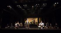 front, l-r: Kazunaga Tsuji (Banquo), Tetsuro Sagawa (King Duncan), Masachika Ichimura (Macbeth) in MACBETH by Shakespeare opening at the Barbican Theatre, London EC2 on 05/10/2017 Ninagawa Theatre Com...