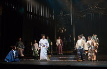 front left: Masachika Ichimura (Macbeth - standing) in MACBETH by Shakespeare opening at the Barbican Theatre, London EC2 on 05/10/2017 Ninagawa Theatre Company, Tokyo, Japan  set design: Kappa Senoh...
