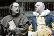 MEASURE FOR MEASURE by Shakespeare  Master of Play (director): John Dove   IV/iii - l-r: Mark Rylance (Friar Ludowick, Vincentio in disguise), Colin Hurley (Lucio)Shakespeare's Globe (SG), London SE1...