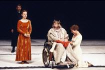 KING LEAR   by Shakespeare   design: Hildegard Bechtler   lighting: Jean Kalman   director: Deborah Warner ~~l-r: Ian McKellen (Earl of Kent), Eve Matheson (Cordelia), Brian Cox (King Lear), Clare Hig...