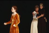 KING LEAR by Shakespeare  design: Hildegard Bechtler  lighting: Jean Kalman  director: Deborah Warner ~~l-r: Eve Matheson (Cordelia), Clare Higgins (Regan), Susan Engel (Goneril)~Lyttelton Theatre, Na...