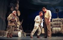 THE WINTER'S TALE by Shakespeare  design: Robert Jones  lighting: Tim Mitchell  director: Gregory Doran ~l-r: James Hayes (Old Shepherd), Ian Hughes (Autolycus), Christopher Brand (Young Shepherd) ~Ro...
