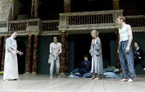 A MIDSUMMER NIGHT'S DREAM   by Shakespeare   Master of Clothing & Properties (designer): Jenny Tiramari   Master of Play (director): Mike Alfreds   l-r: Philippa Stanton (Hermia), Richard Katz (Lysand...