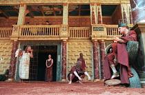 THE WINTER'S TALE by Shakespeare design: Tom Phillips director: David Freeman left (in cage) Belinda Davison (Hermione)  (rear) Polly Pritchett (First Lady)  right: Mark Lewis Jones (Leontes)  Shakesp...