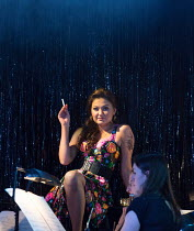 Aigul Akhmetshina (Carmen) in LA TRAGEDIE DE CARMEN by Bizet adapted by Peter Brook presented by the Royal Opera House Jette Parker Young Artists Programme at Wilton's Music Hall, London E1 opening on...