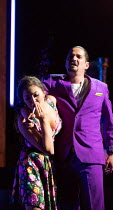 lighting her cigarette: Aigul Akhmetshina (Carmen), Gyula Nagy (Escamillo) in LA TRAGEDIE DE CARMEN by Bizet adapted by Peter Brook presented by the Royal Opera House Jette Parker Young Artists Progra...