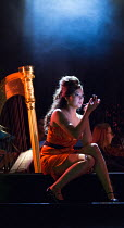 preparing to meet Escamillo: Aigul Akhmetshina (Carmen) in LA TRAGEDIE DE CARMEN by Bizet adapted by Peter Brook presented by the Royal Opera House Jette Parker Young Artists Programme at Wilton's Mus...