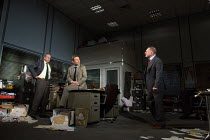 l-r: Stanley Townsend (Shelley Levene), Christian Slater (Richard 'Ricky' Roma), Robert Glenister (Dave Moss) in GLENGARRY GLEN ROSS by David Mamet opening at the Playhouse Theatre, London WC2 on 09/1...