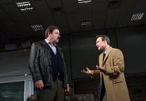 l-r: Daniel Ryan (Lingk), Christian Slater (Richard 'Ricky' Roma) in GLENGARRY GLEN ROSS by David Mamet opening at the Playhouse Theatre, London WC2 on 09/11/2017   design: Chiara Stephenson  lightin...