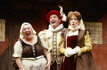 BARTHOLOMEW FAIR  by Ben Jonson  design: Patrick Robertson & Rosemary Vercoe  puppets: Graeme Galvin  director: Peter Barnes l-r: Peggy Mount (Ursula, a pig-woman), Christopher Biggins (Bartholomew Co...