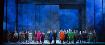 Marnie's four Shadows (in pink, blue, orange, green coats) with company and chorus in MARNIE opening at English National Opera (ENO), London Coliseum, WC2 on 18/11/2017     after the novel by Winston...