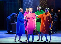 centre: Sasha Cooke (Marnie) with her Shadows, l-r: Katie Coventry, Charlotte Beament, Katie Stevenson, Emma Kerr in MARNIE opening at English National Opera (ENO), London Coliseum, WC2 on 18/11/2017...
