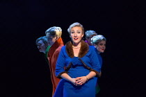 centre: Sasha Cooke (Marnie) with her Shadows, l-r: Katie Stevenson, Emma Kerr, Charlotte Beament, Katie Coventry in MARNIE opening at English National Opera (ENO), London Coliseum, WC2 on 18/11/2017...