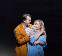 quarrelling about their relationship: Sasha Cooke (Marnie), Daniel Okulitch (Mark Rutland) in MARNIE opening at English National Opera (ENO), London Coliseum, WC2 on 18/11/2017     after the novel by...