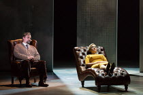 on the psychiatrist's chair: Darren Jeffery (Dr Roman), Sasha Cooke (Marnie) in MARNIE opening at English National Opera (ENO), London Coliseum, WC2 on 18/11/2017     after the novel by Winston Graham...