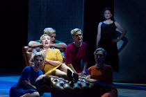 during analysis Marnie recalls a thunderstorm, a soldier, her mother and a baby - l-r: Katie Coventry (Shadow Marnie), Sasha Cooke (Marnie), Katie Stevenson (Shadow Marnie), Charlotte Beament (Shadow...