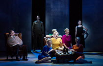 during analysis Marnie recalls a thunderstorm, a soldier, her mother and a baby - l-r: Darren Jeffery (Dr Roman), Soldier, Katie Coventry (Shadow Marnie), Sasha Cooke (Marnie), Charlotte Beament (Shad...